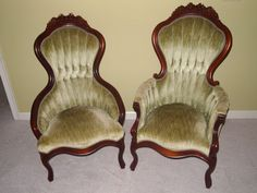 His and Hers Victorian Parlor Chairs