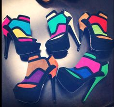 Fitly adorn feet in high heels provide that perfect finish that most ladies have a penchant for. The famous high heels shoes prov. Bright Heels, Neon Heels, Shoes Heels, Pumps, Colorful Heels, Flats, Sandals, I Love My Shoes, Crazy Shoes
