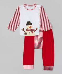 Holiday by Victoria Kids White & Red Snowman Pima Tee & Pants - Infant & Toddler by Holiday by Victoria Kids #zulily #zulilyfinds