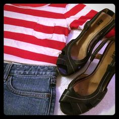 """Classic Wedges or Outfit Gently used black leather with cork sling-back wedges from Brass Plum. See photos for damage in cork. Priced accordingly. Pair them with some flare jeans, a summer dress or slacks. Want the outfit? All items in cover photo for $20. Individually: striped red top $8 (no tag for size, fits like M), GAP skirt $12 (no tag, waist 16.5""""). bp Shoes Wedges"""