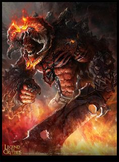In Norse mythology, Surtr is a Fire Jotun and the king of the Fire Giants that inhabit the realm of Muspelheim. Though currently unable to leave Muspelheim, Surtr is prophesied to break free during Ragnarok and lead the Jotnar in an attack against the god Dark Fantasy Art, Fantasy World, Dark Art, Fantasy Creatures, Mythical Creatures, Fantasy Monster, Angels And Demons, Norse Mythology, Gods And Goddesses