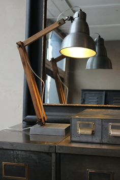 Wood and Aluminium Desk lamp from attic.