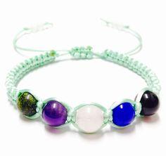 Gemstone Macrame Bracelet - Russisn Serpentine, Amethyst, Snow Quartz, Blue Jade and Black Onyx Bracelet - Gemstone Bracelet-Macrame Jewelry by OurUniverseShop on Etsy