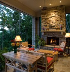 Open porch with a fireplace.