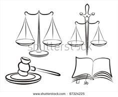 libra of justice, judge gavel, justice symbols, law concept, set