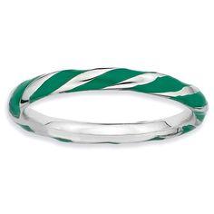 Bonyak Jewelry Sterling Silver Green Enameled Awareness Charm