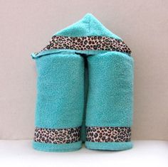 Hooded Baby Towel (Teal with Teal Cheetah trim). $18.00, via Etsy.