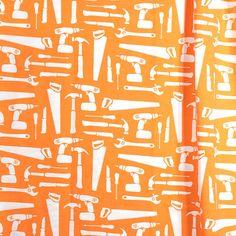 PaapPii organic jersey in orange, comfortable boys fabric, Finnish fabric, Scandinavian 95% cotton fabric, orange tools fabric