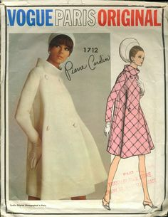 Vintage Vogue Paris Original paper pattern 1712 coat pattern by Pierre Cardin size 16 by Marcialois on Etsy Vintage Outfits, Vintage Dresses, 1960s Dresses, Vogue Sewing Patterns, Vintage Sewing Patterns, Pierre Cardin, Vogue Paris, 1960s Fashion, Vintage Fashion