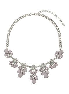 Lilac Flower Stone Necklace