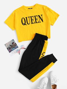 Multicolor Letter Graphic Crop Top & Pants Set Best Picture For Crop Top indian style For Your Taste You are looking for something, and it is going to tell you exactly what you are lookin Cute Lazy Outfits, Teenage Outfits, Outfits For Teens, Stylish Outfits, Sporty Outfits, Girls Fashion Clothes, Teen Fashion Outfits, Swag Outfits, Outfits Jeans