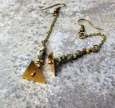 PYRITE AND TRIANGLE Earrings // Pyrite Chip Beads by ShopParadigm, $32.00