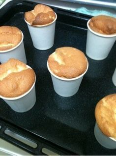 Paper cup chiffon cake ♪ for handmade Sweets Recipes, Baking Recipes, Cake Recipes, Desserts, Making Sweets, Love Eat, Cafe Food, Mini Cakes, No Cook Meals