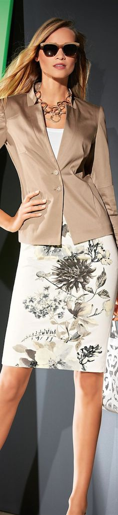 beige blazer with printed white skirt #interviewoutfit #workoutfit #bfcloset