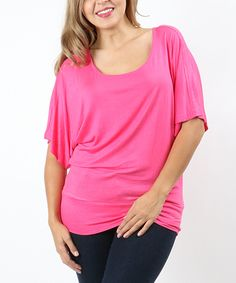 0bc2e7cc984 Take a look at this Zenana Fuchsia Banded Cape-Sleeve Top - Plus today!