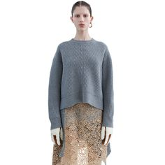 Acne Studios Java rib grey melange is an oversized sweater with fully fashioned details and distinctive, diagonal ribs.