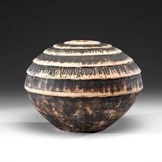 "David Leach (1911-2005, Britain), Vase with incised rings, stoneware, 13""x16,"" artist stamp at foot."