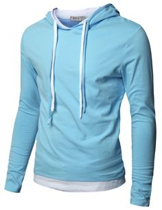 Doublju Mens Hood Pull-over with Contrast String at Amazon Men's Clothing store: Fashion Hoodies