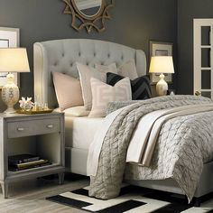 cozy bedroom with tufted upholstered bed, neutral light grey linens w/ soft pink accents, black and white rug - Model Home Interior Design Beautiful Bedrooms, Home, Bedroom Makeover, Home Bedroom, Small Master Bedroom, Bassett Furniture, Tufted Upholstered Bed, Bedroom Inspirations, New Room