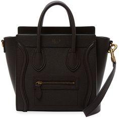 Luggage Nano Leather Satchel ❤ liked on Polyvore featuring bags, handbags, sac, handle satchel, 100 leather handbags, leather strap purse, leather bags and leather satchel handbags