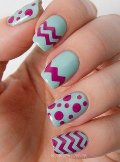 Chevron Dot Nail Art Easter Design