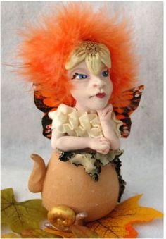 Terra Cotta Fall Teapot Tea Leaf OOAK Fairy Fairies Art Doll Fantasy Figurine
