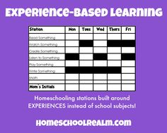 """Experience-based Learning"" system ... this really is a great idea and is sort of unschooling in a sense."