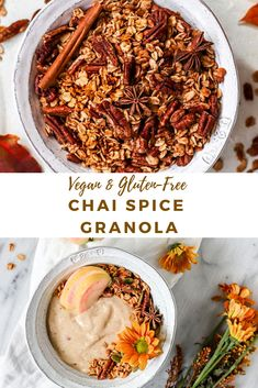 This Chai Spice & Pecan Granola is gluten-free, refined sugar-free, vegan, and made with whole grain oats for a healthy breakfast treat! Vegetarian Breakfast, Vegan Breakfast Recipes, Brunch Recipes, Vegan Recipes, Breakfast Ideas, Sugar Free Vegan, Sugar Free Recipes, Vegan Granola, Spiced Pecans