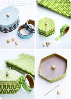 Decorating boxes with washi tape