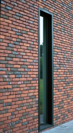 The door design - mix of brick and steel facade Brick Cladding, Brick Facade, Brickwork, Facade House, Brick Design, Facade Design, Door Design, Exterior Design, House Design