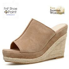 MmNote Women Shoes Womens Buckle Ankle Strap Wedges Summer Weaving Comfort Medium High Heel Sandals Shoes