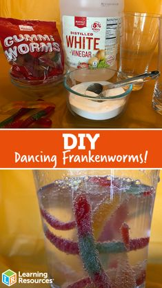 DIY Dancing Frankenworms Dancing Worm Science DIY Candy comes alive with this simple science experiment of an acid versus a base. Kids will delight in watching gummy worms dancing and squirming right before their very eyes. Candy Experiments, Easy Science Experiments, Science Diy, Kindergarten Science Experiments, Science Labs, Science Party, Science Chemistry, Science Jokes, Food Science