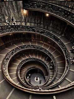 Spiral Staircase at the Vatican Rome. province of Rome Lazio region Italy. This looks like the spiral staircase at Randolph College. Beautiful Architecture, Beautiful Buildings, Art And Architecture, Beautiful Places, Beautiful Stairs, Escalier Design, Balustrades, Banisters, Railings