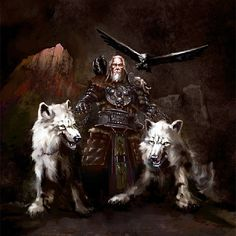 **Allfather Odin, with his wolves and ravens