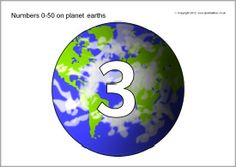 Numbers 0-50 on planet earths (SB7538) - SparkleBox