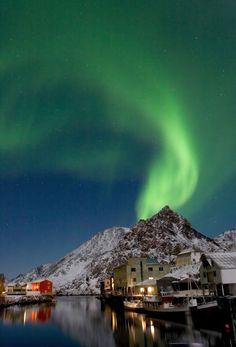 Aurora borealis over Nyksund in Vesterålen, Norway
