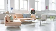 I love this colour pallette: 1Bemz covers for Söderhamn sofa and armchair in Peach Panama Cotton and PS chair in Sand Beige Panama Cotton