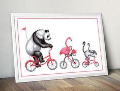 Jolie affiche danimaux en vélo avec le panda, le flamant rose et maman et bébé lémurs. Aux couleurs rose, noir et blanc. Idéale pour chambre