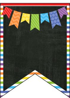 ROY G BIV Editable Banners Primary Rainbow & Chalkboard Theme - Primary Colors & Chalkboard Banners ROY G BIV, Editable La mejor imagen sobre healthy eating para t - Kindergarten Classroom Decor, Classroom Themes, Classroom Labels, Welcome To School, Chalkboard Banner, Cute Frames, Bunting Flags, Borders And Frames, Primary Colors