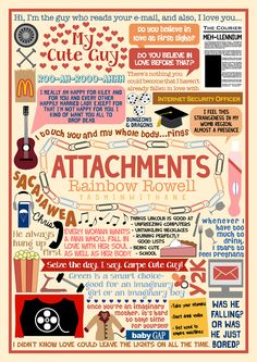 Book Collage for Attachments by Rainbow Rowell I changed my mind, Attachments isn't my favourite Rainbow Rowell book anymore, THEY ALL ARE. It's too frickin' hard to choose. However, this book is...