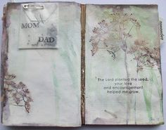 Art Journal using Tim Holtz Distress Stains, Donna Downey/Unity stamps - Delicate Flower and Wplus9 Design Studio -Woodgrain Silhouettes stamp set