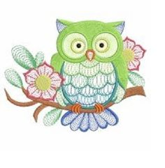 Owl on branch, summer colors, embroidered fabric sewing quilt block SNS   $.99 cent special