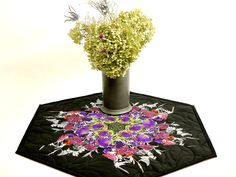 Quilted Spring Table Topper, Floral Decor, Butterfly Dragonfly Design,Table Mat, Handmade Quilt, Table Runner, Candle Mat, Purple Black Pink Office Candy Bowl, Design Table, Tablerunners, Quilted Table Runners, White Butterfly, Table Toppers, Purple And Black, Dorm, Pattern Design