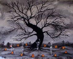 Halloween Kunst, Halloween Painting, Halloween Skeletons, Spooky Halloween, Vintage Halloween, Happy Halloween, Halloween Queen, Halloween Spells, Scream Halloween