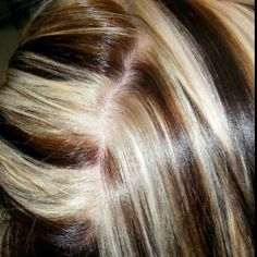 This color is a chunky foil all over with black, light brown, and pale blonde. This is the back part of here hair I parted open to show it is consistent all the way through. I can't stand it when other stylists skimp and don't make the underneath look as good as the part. The very bottom of her hair is black look for Ashley on my Facebook fan wall in photos  www.facebook.com/pages/YourHairChic/134200983272321