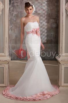 トランペット/マーメイドスウィートハート床までの長さチャペルフラワーウェディングドレス