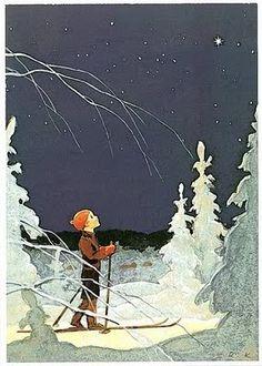 A simple, yet serene winter drawing by finnish illustrator Martta Wendelin.