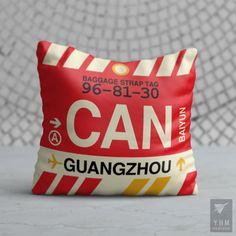 CAN Guangzhou Airport Code Throw Pillow - Vintage Baggage Tag Design Tag Design, Teacher Appreciation Gifts, Teacher Gifts, Vancouver, Baggage Tag, Manchester Airport, Cat Sitter, New Neighbors, Travel Themes