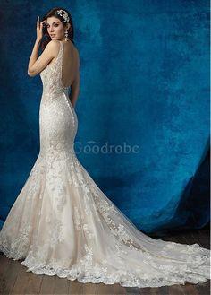 Robe de mariée dentelle style sirène modeste traîne longue naturel - photo 2