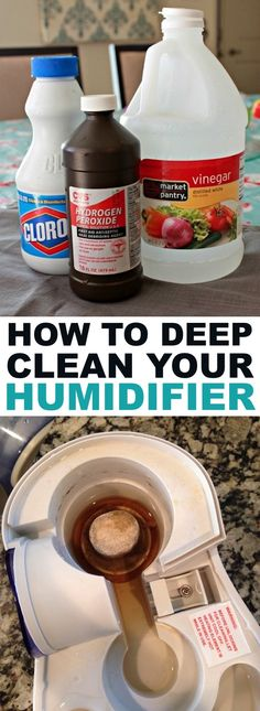 Tips on how to clean you humidifier with vinegar, peroxide and bleach. How to clean your humidifier the easy way! A cleaning hack everyone should know.